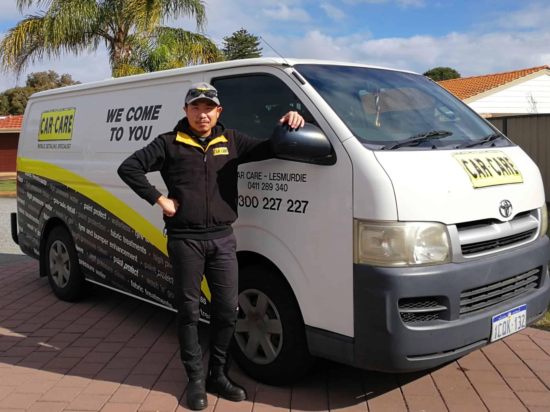 ANDY CAR CARE LESMURDIE by white Car Care van