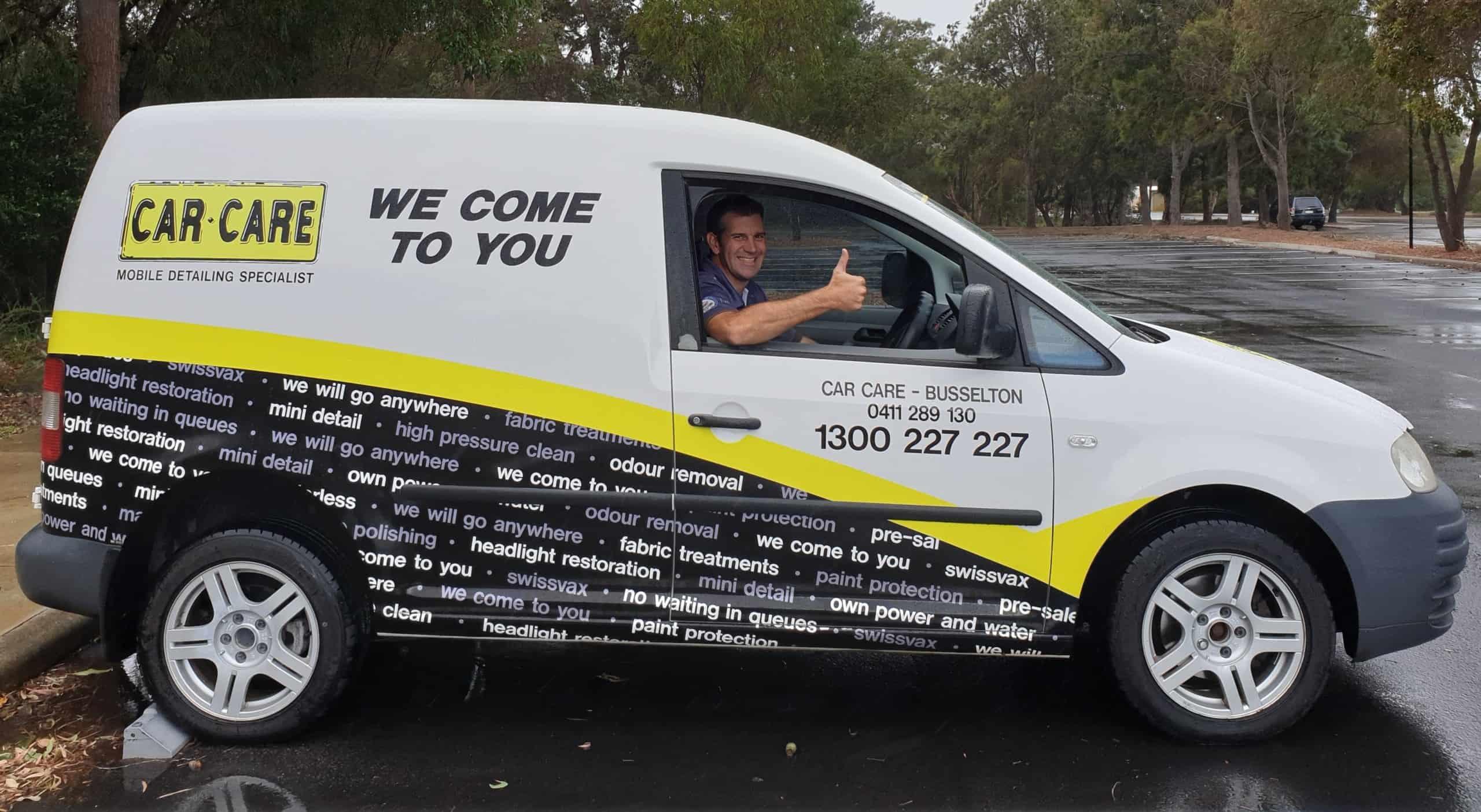 Tony Car Care Busselton in white VW van