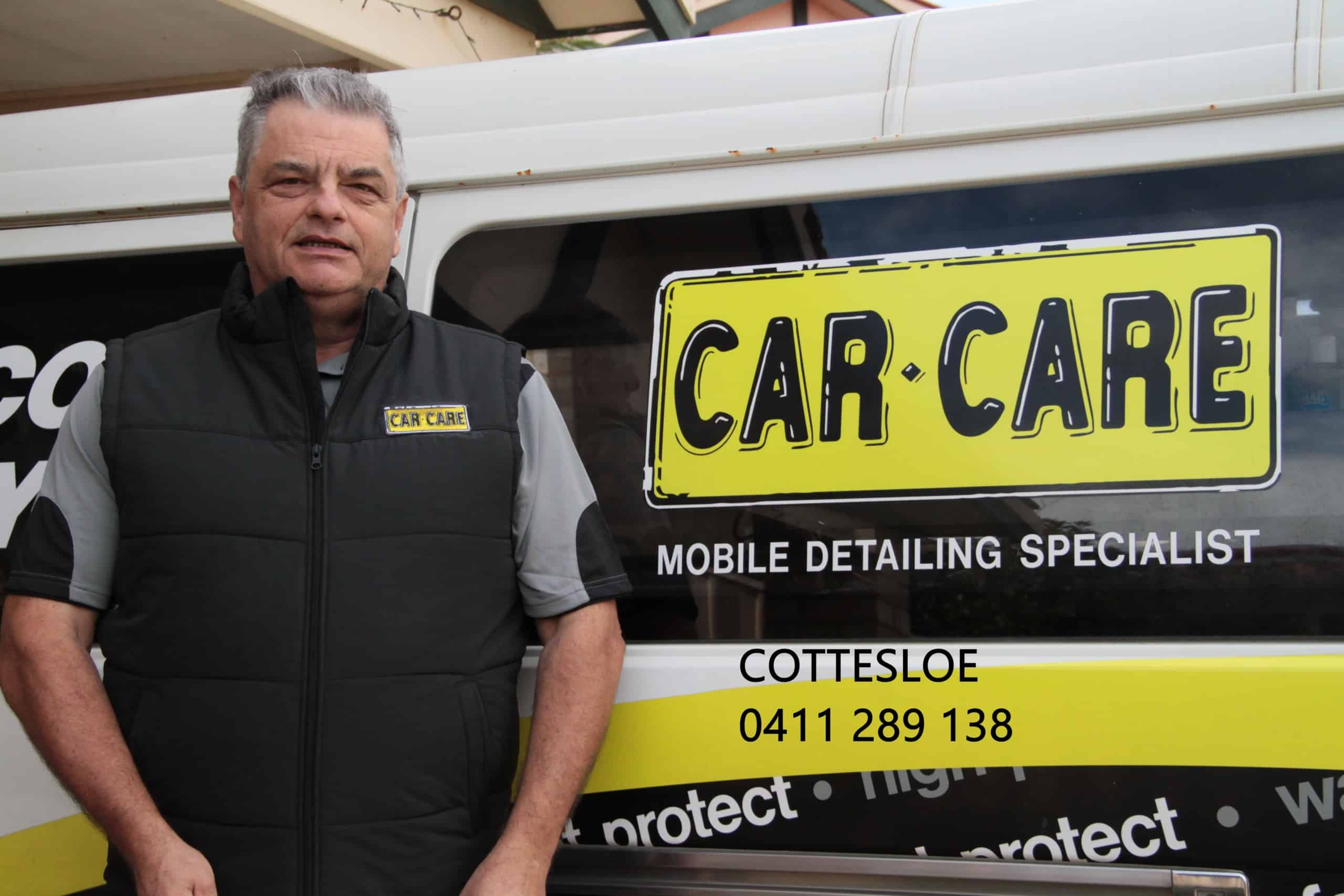 Con Car Care Cottesloe standing in front of detailing van