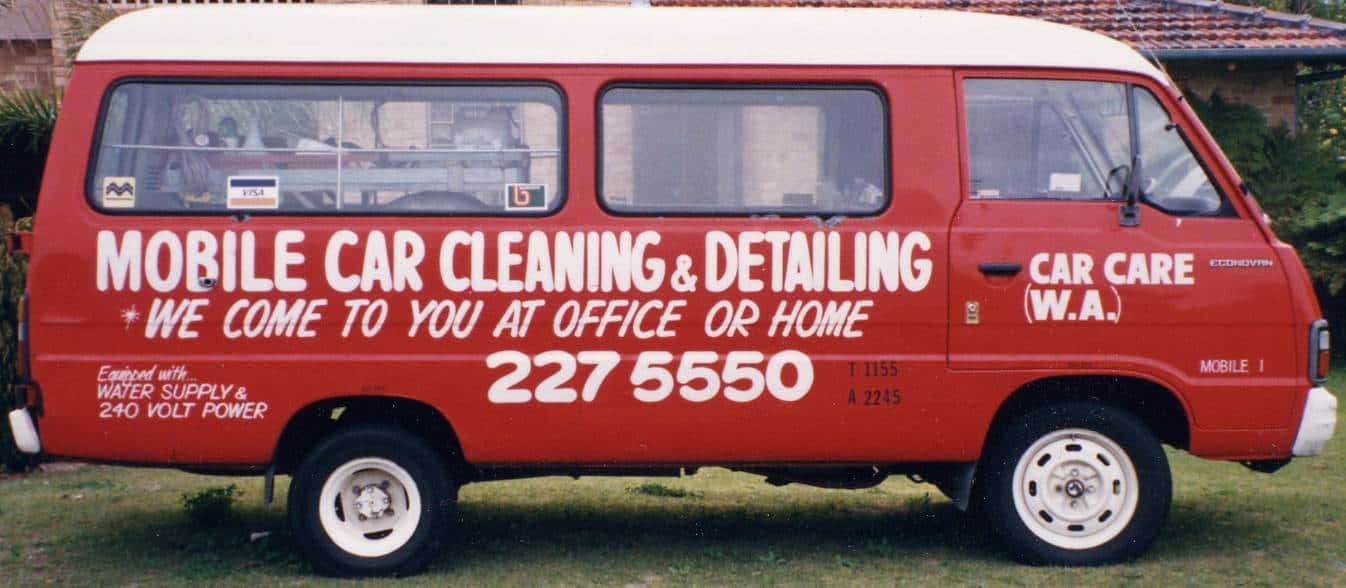 A side on photo of the original Car Care van from 1978