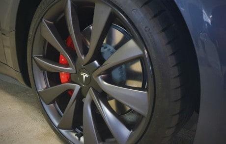 Alloy Wheel protectors on black Tesla